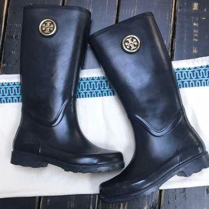 Tory Burch Tall Black Rubber Boots